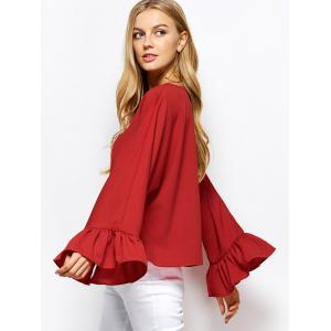 Dolman Sleeve Ruffles Loose Blouse - RED 2XL