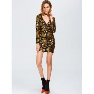 Sparkly Party Glitter Sequin Bodycon Mini Dress with Long Sleeves - GOLDEN XL
