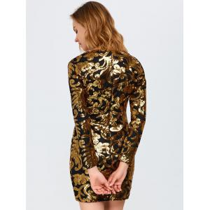Sparkly Party Glitter Sequin Bodycon Mini Dress with Long Sleeves - GOLDEN L