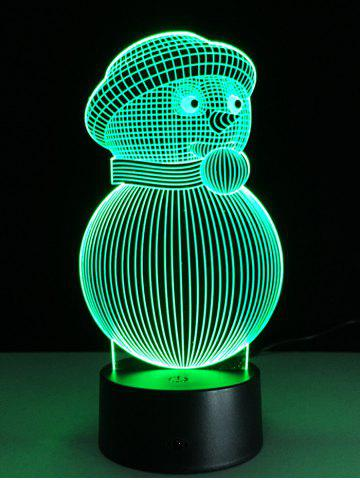Unique 3D Christmas Snowman Shape Touch Colorful Night Light