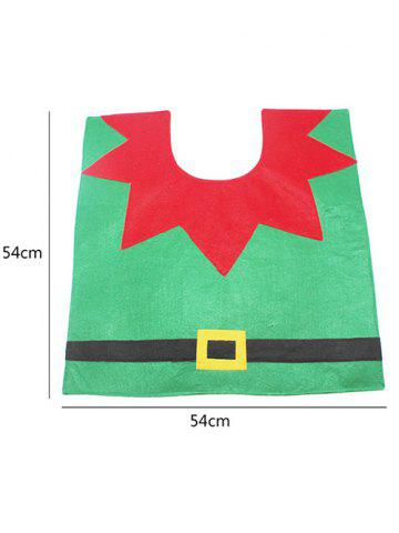 Sale 3PCS Christmas Supplies Bathroom Toilet Closestool Cover Floor Mats - RED AND GREEN  Mobile