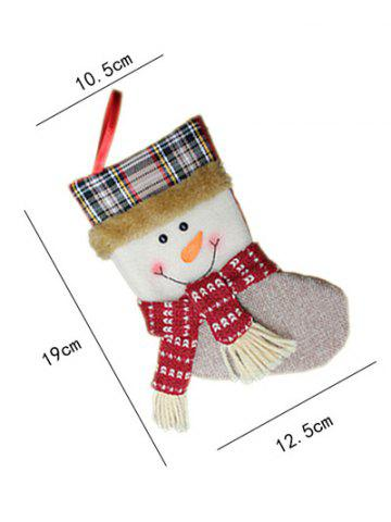 Unique Christmas Tree Hanging Decoration Snowman Present Stocking Sock - WHITE  Mobile