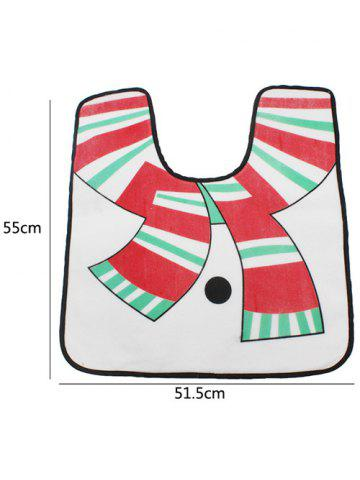 Store 3PCS Christmas Supplies Snowman Bathroom Toilet Closestool Cover Floor Mats - WHITE  Mobile