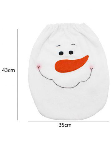 Buy 3PCS Christmas Supplies Snowman Bathroom Toilet Closestool Cover Floor Mats - WHITE  Mobile