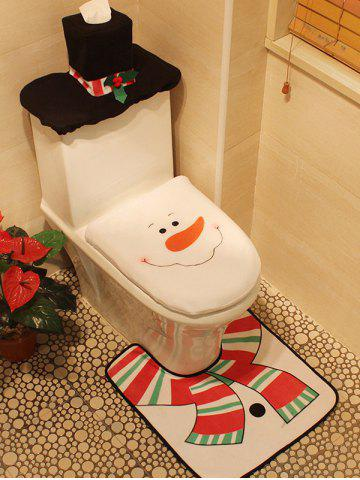 New 3PCS Christmas Supplies Snowman Bathroom Toilet Closestool Cover Floor Mats - WHITE  Mobile