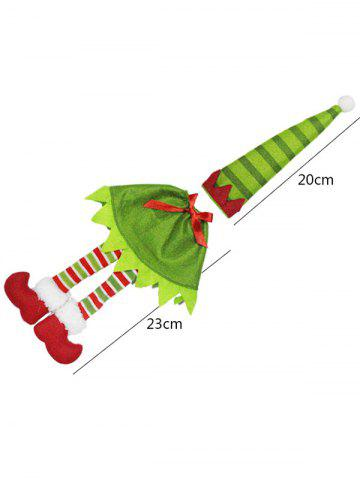 Outfit Christmas Table Decor Stripe Clothes Design Wine Bottle Cover Bag - GREEN  Mobile