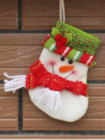 Christmas Snowman Xmas Tree Decor Hanging Present Bag Sock - Red With White - One Size