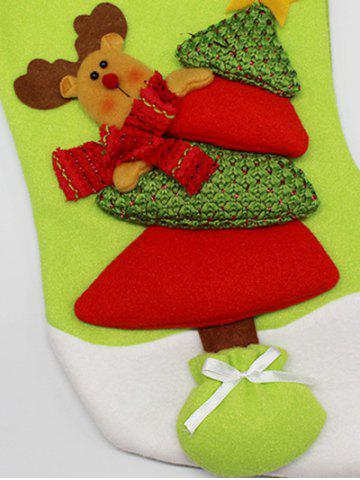 Hot Xmas Tree Decor Hanging Elk Christmas Gift Stocking Bag - RED AND GREEN  Mobile