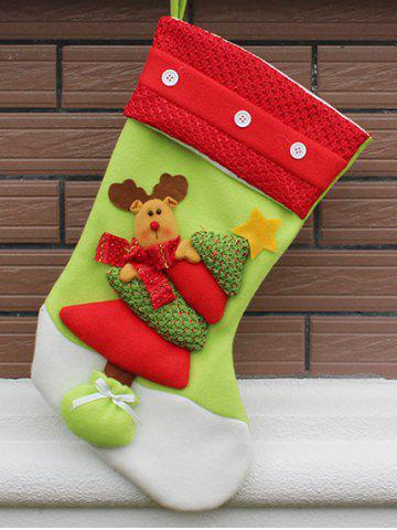 Outfits Xmas Tree Decor Hanging Elk Christmas Gift Stocking Bag - RED AND GREEN  Mobile