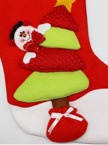 Discount Party Decor Christmas Snowman Hanging Present Bag Sock - RED AND GREEN  Mobile