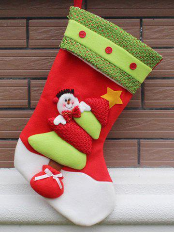 Chic Party Decor Christmas Snowman Hanging Present Bag Sock - RED AND GREEN  Mobile