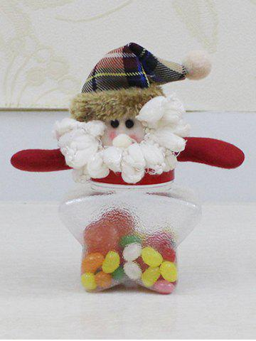 Store Christmas Supplies Cute Plush Santa Toy Star Shape Candy Jar TRANSPARENT