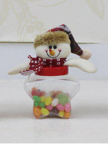 Chic Christmas Supplies Cute Plush Snowman Toy Star Shape Candy Jar TRANSPARENT