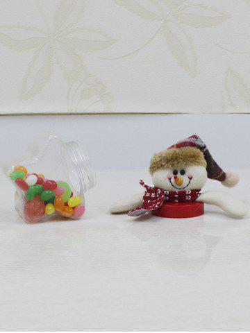 Store Christmas Supplies Cute Plush Snowman Toy Star Shape Candy Jar - TRANSPARENT  Mobile