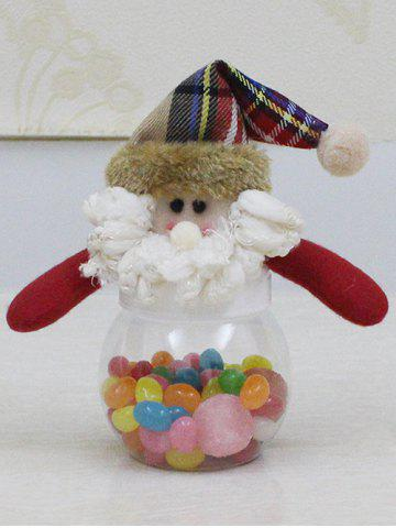 Hot Christmas Cute Plush Santa Toy Candy Jar - TRANSPARENT  Mobile