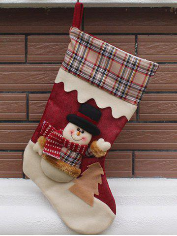 Online Snowman Pattern Hanging Candy Present Sock Party Decoration COLORMIX