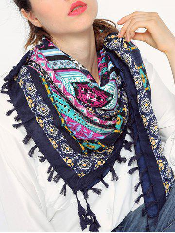 Outfits Ethnic Geometry Pattern Tassel Shawl Wrap Scarf CADETBLUE