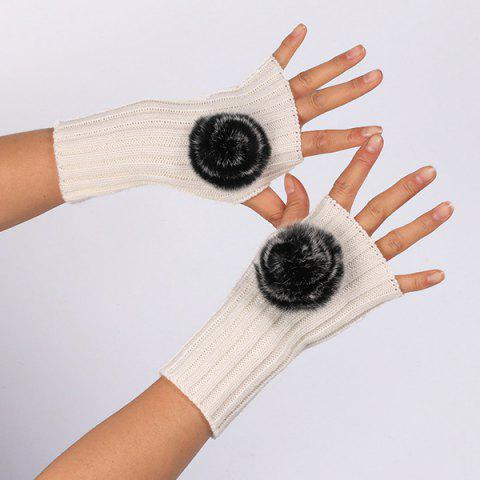 Fashion Winter Pom Ball Knit Fingerless Gloves WHITE
