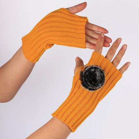 Store Winter Pom Ball Knit Fingerless Gloves - GINGER  Mobile