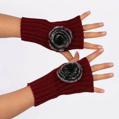 Buy Winter Pom Ball Knit Fingerless Gloves