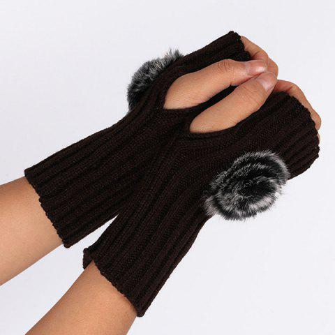 Outfit Winter Pom Ball Knit Fingerless Gloves - COFFEE  Mobile