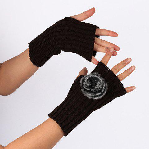 Fashion Winter Pom Ball Knit Fingerless Gloves - COFFEE  Mobile