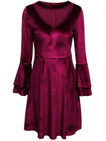 Unique Tiered Bell Sleeve V Neck Velvet Dress PURPLISH RED 2XL