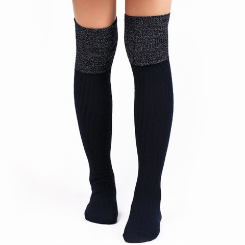 Chic Warm Ribbed Knit Stockings CADETBLUE