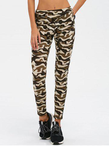 Camouflage Print Exercise Pants - Army Green Camouflage - S