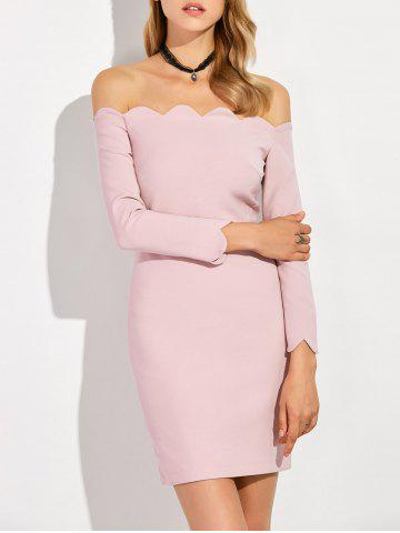 Trendy Scalloped Hem Fitted Off The Shoulder Dress