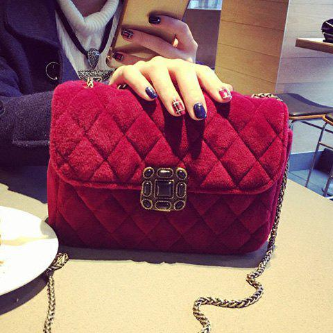 Shop Chains Velour Crossbosy Bag RED