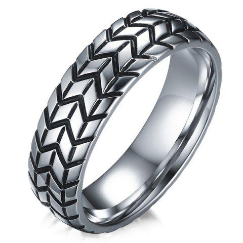 Trendy Tire Engraved Alloy Ring - 11 SILVER Mobile