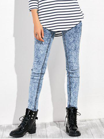 High Waisted Acid Washed Jeans - Blue Gray - 24