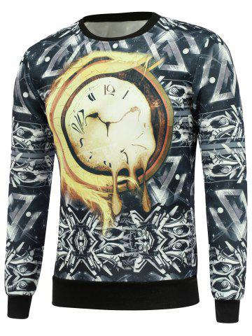 Long Sleeve Abstract Clock Print Sweatshrit