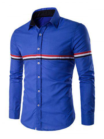 Buy Long Sleeve Stripe Panel Button Down Shirt