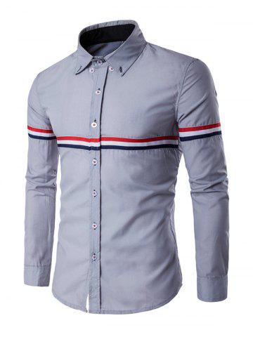 Online Long Sleeve Stripe Panel Button Down Shirt - L GRAY Mobile