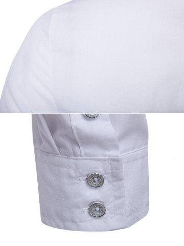 Best Striped Chest Pocket Back Pleat Button Front Shirt - L WHITE Mobile