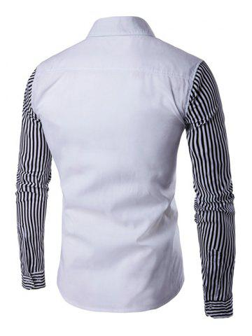 Latest Striped Sleeve Button Down Shirt - M WHITE Mobile