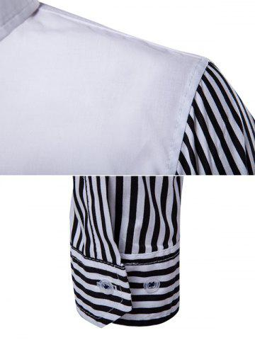 Affordable Striped Sleeve Button Down Shirt - M WHITE Mobile