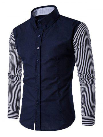 Unique Striped Sleeve Button Down Shirt - L DEEP BLUE Mobile