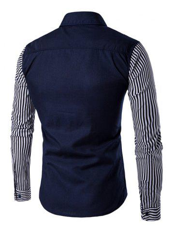 Best Striped Sleeve Button Down Shirt - L DEEP BLUE Mobile