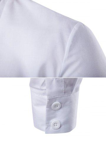 Online Embroidered Back Pleat Asymmetrical Front Shirt - 2XL WHITE Mobile