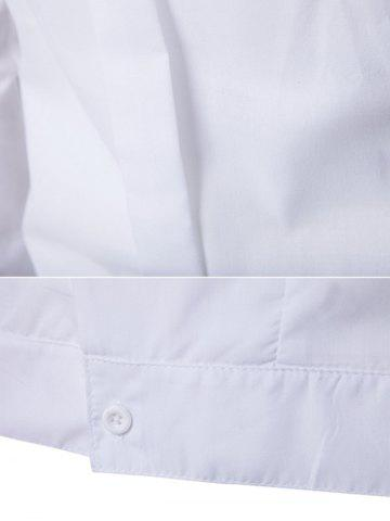 Buy Embroidered Back Pleat Asymmetrical Front Shirt - XL WHITE Mobile
