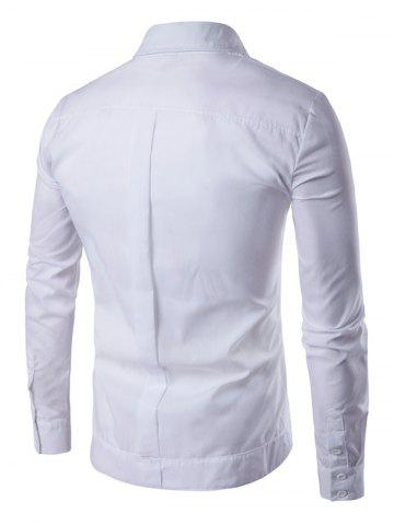 Online Embroidered Back Pleat Asymmetrical Front Shirt - XL WHITE Mobile