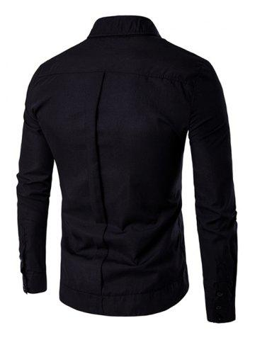Best Embroidered Back Pleat Asymmetrical Front Shirt - XL BLACK Mobile