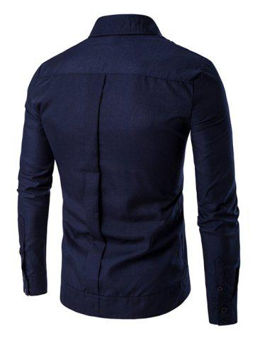 Buy Embroidered Back Pleat Asymmetrical Front Shirt - L DEEP BLUE Mobile