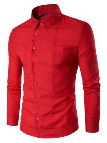 Store Back Pleat Asymmetrical Front Plain Shirt RED L