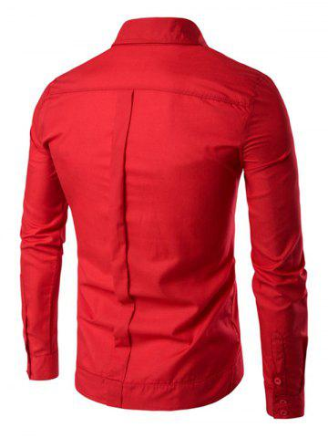 Buy Back Pleat Asymmetrical Front Plain Shirt - L RED Mobile