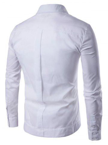 Trendy Back Pleat Asymmetrical Front Plain Shirt - M WHITE Mobile