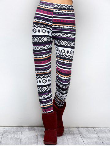 High Waist Asymmetrical Print Leggings - Black And White And Purple - S